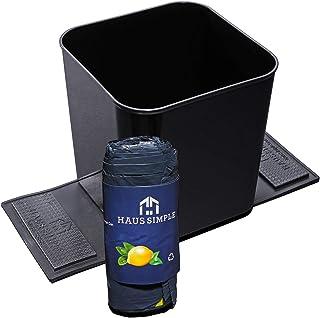 防溢自动垃圾桶 – 1.4加仑(约1.4升)塑料车载垃圾桶,稳定翻盖+20个抽绳垃圾袋 – 7.5 x 7.3英寸(约19.05 x 18.0厘米)垃圾桶,适用于汽车、SUV、小型货车和卡车 黑色 H330