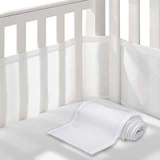 透气婴儿婴儿床缓冲垫,可调节衬垫透气婴儿床缓冲垫,适合标准和其他婴儿床,3D 透气棉质网眼缓冲垫,可调节长度,适合所有尺寸,无衬垫机洗,可水洗