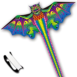 KITETIME 2021 新款 63 英寸龙风筝,适合儿童和成人,方便飞行,300 英尺(约 91.4 米)风筝手柄,适合海滩旅行公园家庭(*)