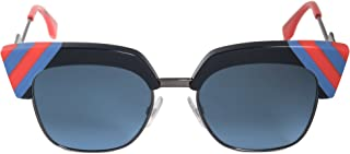 FEN Metal Browline Sunglasses 50 0PJP Blue 08 dark blue gradient lens