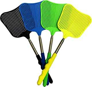 4 件装 Fly Swatter,可扩展耐用塑料飞溅器套装,伸缩式飞溅器,带不锈钢手柄,适用于室内/室外/教室/办公室