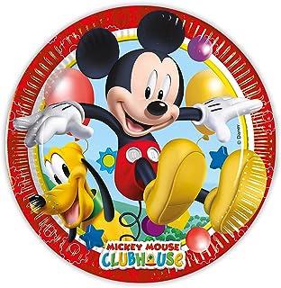 Procos 93493 – 派对餐盘 Playful Mickey,尺寸 20 厘米,8 件,一次性盘子,儿童生日,派对餐具,FSC