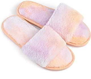 Allegra K 女式扎染舒适防滑泡沫毛绒拖鞋
