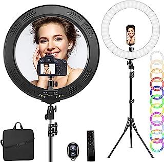 19 英寸(约 48.3 厘米) RGB 环形灯带支架,48 瓦* LED 环灯,支持手机/垫/相机,便携包适用于摄影/YouTube/Facebook/交换/博客