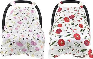 SUBANG 2 件套哺乳巾婴儿汽车座椅套,婴儿推车套,女孩和男孩的汽车座椅遮阳篷粉色和红色花朵风格