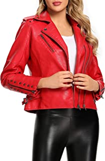S P Y M 女式休闲人造皮革时尚机车拉链绗缝夹克