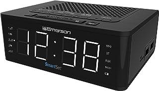 Emerson SmartSet 闹钟收音机带蓝牙音箱,充电站带 2 个 USB 端口,适用于 iPhone / iPad / iPod / Android 和平板电脑 ER100102