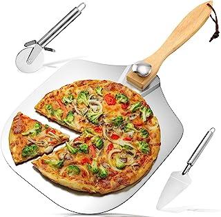 铝金属 30.48 厘米 x 35.56 厘米带可折叠木手柄 - 易于存放披萨铲,可在烤箱或烧烤中烘烤披萨和面包,是自制披萨爱好者的*佳礼物