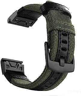 Fenix 5X/5X Plus Quick Fit 表带,YOOSIDE 26 毫米 NOTA 尼龙耐用防汗表带表带,适用于 Garmin 佳明 Fenix 5X/5X Pus/Fenix 3/3 HR/D2/Descent Mk1,适合手腕...