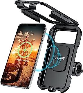 iMESTOU 防水 IP67 摩托车手机支架无线/ USB C 充电器车把手机支架快速充电适用于 5.5 英寸 - 6.8 英寸手机,通过接线至 12/24V 车辆或插入 USB A 插座
