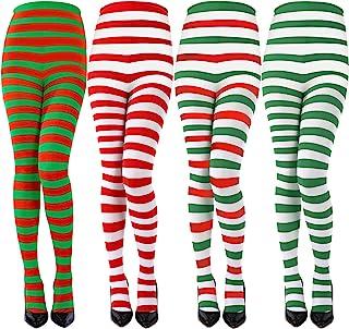 Sumind 4 双装圣诞条纹紧身裤全长紧身裤大腿长袜,圣诞节万圣节服装配饰