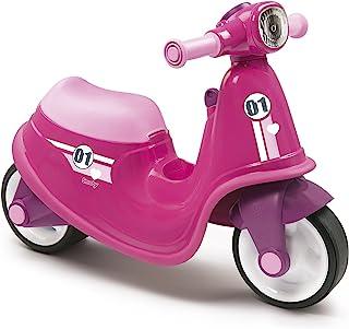 Smoby 粉色儿童滑板车时尚幼儿骑乘机械钥匙,玩具盒和前灯,适合 18 个月以上儿童