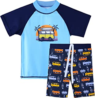TFJH E 儿童男孩泳衣 UPF 50+ 紫外线* 2 件套鱼类泳衣