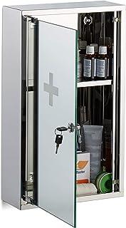Relaxdays 不锈钢制药柜,可锁定镜门,2个隔层,药柜,高宽深:50 x 30 x 11厘米,银色