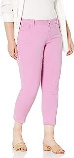 SLINK Jeans 女士加大码直筒色脚踝裤