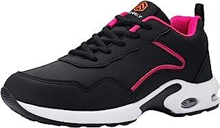 FENLERN 钢头鞋 女式轻质气垫*运动鞋 舒适防滑工作运动鞋 *脚趾网球鞋 坚不可摧