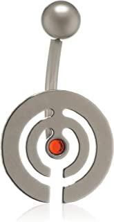 Pure Grey 中性香蕉叉德国制造肚脐穿孔钛锆石红色明亮切割 - 珠宝Eternitybells 10 HY