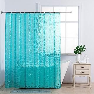 浴帘内衬 - 浴室浴帘塑料带磁铁加重防水重型淋浴内衬 EVA 10 规格 72 英寸 182.88 厘米 12 个浴帘挂钩 不含聚氯乙烯 蓝*淋浴内衬