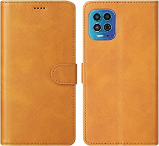 Cresee 适用于摩托罗拉 Moto G100 手机壳,PU 皮革钱包翻盖保护套 [3 个卡槽 1 个钱袋] [磁扣] [支架] Moto G100 对开式手机壳 - 棕褐色