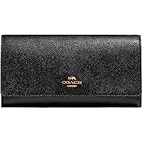 Coach蔻驰十字纹皮革三折式证件钱包 - #F79868 - 黑色