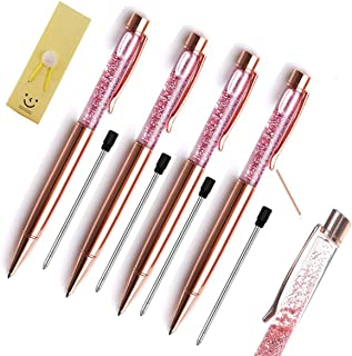 Pen Bling sets Pen 水钻水晶金属圆珠笔精细黑色墨水办公室用品(10 件装) 玫瑰金