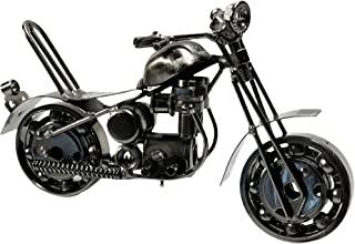 金属摩托车工业摩托车手切碎机办公室桌雕塑 7 英寸复古再生金属经典手工铁螺栓螺母摩托车独特男人洞艺术装饰自行车链(M6 银色)