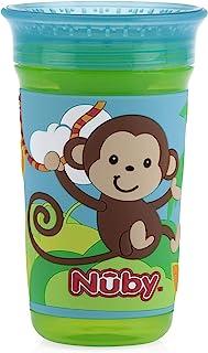 Nuby 努比 360 度轻松啜饮 3D Grip 神奇杯 带印花硅胶套 10 盎司(约 283.5 克)猴子图案 (80178CS24)