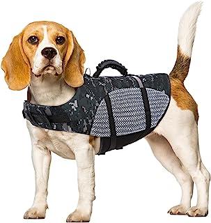 LETSQK 狗狗救生衣狗狗*背心带可调节带扣适用于小型中大型犬,宠物救生衣夹克带耐用救援手柄,适合游泳、冲浪、划船、狩猎