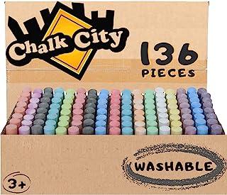 粉笔城市人行道粉笔,136 支,17 种不同颜色,特大粉笔,*,可水洗,艺术套装