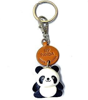 熊猫皮革动物小钥匙链 VANCA CRAFT 收藏钥匙圈吊坠日本制造