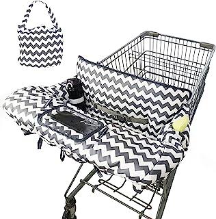 2 合 1 购物车罩和高脚椅套,适用于男婴女孩,棉质购物车罩,婴儿杂货购物车罩,可机洗,防滑设计,手机存放,带免费手提袋