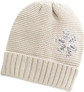 女士冬季针织帽 - 聚酯纤维 - 针织帽带玻璃水钻雪花 - 各种颜色