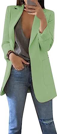 DIACY 女式前开襟长袖西装外套纯色加大码外套