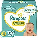 纸尿裤尺码 3,168 片 - Pampers 帮宝适 Swaddlers 一次性婴儿尿布,一个月供应(包装可能不同)