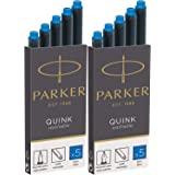 Parker Quink 可洗墨水钢笔替换装,10 个蓝色墨盒替换装 (3016031PP)(10 个墨盒,蓝色)