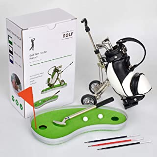 双用途高尔夫球笔夹带 3 支笔桌面玩具装饰娱乐新奇高尔夫球笔套装男士父亲节礼物高尔夫纪念品送给高尔夫球手粉丝同事的独特礼物