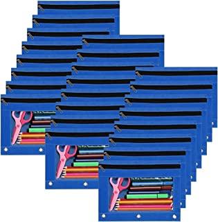 YoeeJob 活页夹 3 个活页夹 铅笔袋 笔袋 带透明窗口 拉链文具包 适用于学校课堂办公室 24 件装 蓝色