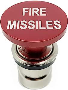 Citadel Black 消防导弹按钮汽车点烟器 - 阳极氧化铝,12 伏替换配件,带*功能,适合大多数车辆,插座尺寸 A