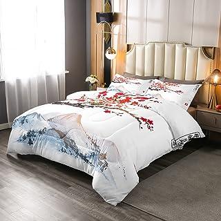 樱花棉被套装 加大双人床 适合女孩 女士 日本红花卉装饰 床上用品 被子 成人 青少年 日式 风格 Ukiyoe 主题 柔软绗缝 羽绒被 安装富士图案 羽绒被