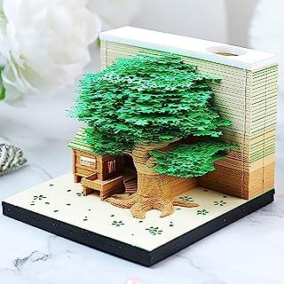 3D 备忘录垫,带灯笔架,贴纸便条 DIY 艺术 Omoshiroi 积木纸雕刻粉色树屋记事本创意帖子笔记(*树屋)