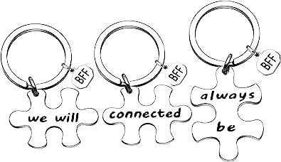 YONGHUI 3 件钥匙链钥匙圈 送给*好的朋友 BFF 生日礼物 我们将始终连接 银色