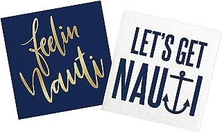Feelin Nauti, Let's Get Nauti 餐巾纸 - 适用于航海主题生日、新娘淋浴、单身身女郎、湖主题派对   纸质餐巾套装适用于鸡尾酒会、饮料、午餐、甜点   2 包 20 张餐巾