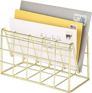 MyGift 现代黄铜金属丝网设计邮件分类器,桌面字母收纳架
