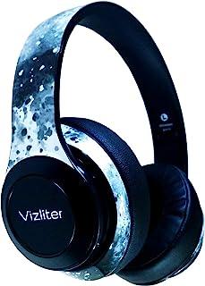 Vizliter 蓝牙耳机,TWS 深低音无线耳机 5.0 内置麦克风软耳罩,带 LED 灯,智能手机,电脑,电视,旅行,健身房锻炼,游戏,降噪,迷彩极光