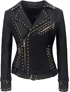 Mandy Luv 女式铆钉铆钉时尚街头摩托车夹克蛇皮完美麂皮鹿天鹅绒酷炫外套