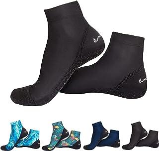 OMGear 水袜沙滩沙排球袜潜水服脚蹼短靴水鞋防滑潜水袜超弹力,适合浮潜游泳冲浪潜水潜水潜水钓鱼皮划艇