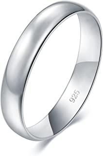 BORUO 925 纯银戒指高抛光平顶抗衰退舒适贴合婚戒 4 毫米戒指