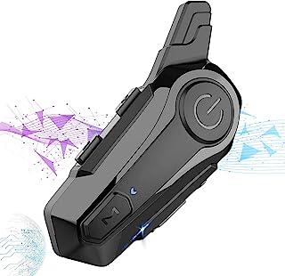AHNUNVA 摩托车蓝牙耳机,摩托车耳机头盔麦克风摩托车蓝牙耳机防水无线通信系统,适用于大多数头盔(1 件)