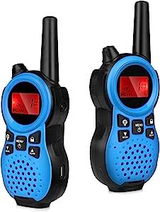 Flexzion 儿童手持对讲机 – 双向无线电收发器 2 英里(长达 3 英里)范围,内置手电筒无线对讲机玩具,适合户外野营徒步(蓝色 – 1 对)