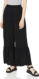 [角格里] 裤子 【Ca】 针织刺绣喇叭裤 女士 112020756901 黑色 日本 F (FREE サイズ)